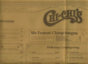Chi Chi's Chimichangas on old Chi Chi's menu