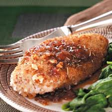 Almond encrusted chicken with strawberry balsamic sauce