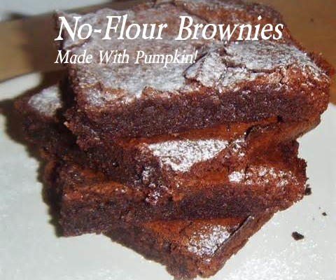 No Flour Brownies - No flour Chocolate Brownies made with pumpkin