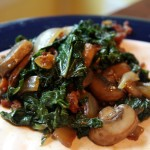 Nutmeg Seasoned Sauteed Kale and Mushrooms